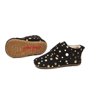Pom Pom Futter hjemmesko indesko sko indoors shoes black gold dot
