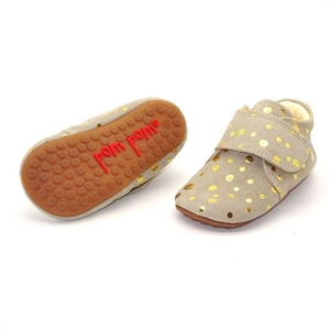 Pom Pom Futter hjemmesko indesko sko indoors shoes beige gold dot