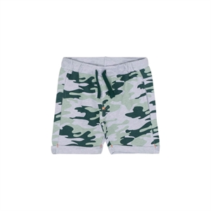 Hust&Claire - Camouflage shorts i tynd sweat - Pearl Grey Melange
