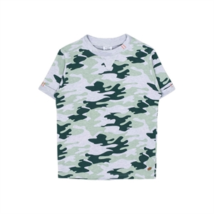 Hust&Claire - Camouflage t-shirt i tynd sweat - Pearl Grey Melange