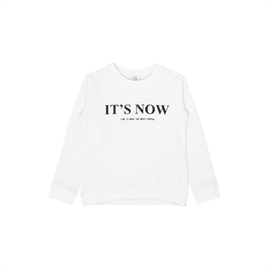 "Hust&Claire - Sweatshirt ""It's Now"" - Hvid"