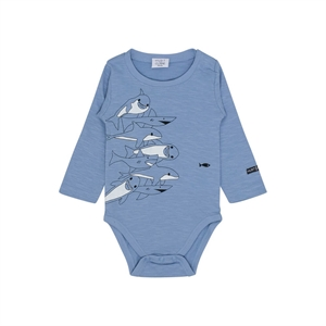 Hust&Claire - Body L/S med delfinprint - Ever Blue
