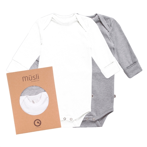 Müsli by Green Cotton - 2-Pak Body l/s - Hvid/grå
