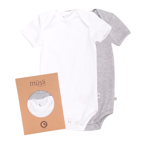 Müsli by Green Cotton - 2-Pak Body s/s - Hvid/grå