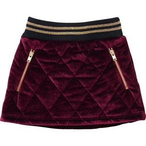 ByClaRa - Quilted dark red velour nederdel - Dark red